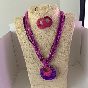 3/$10 NEW necklace earring set pink purple